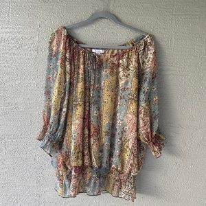 Dressbarn Women's Brown Floral Boho Blouse 2X